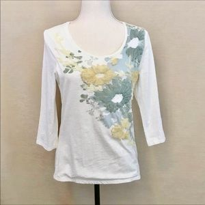 Coldwater Creek Cotton Embellished Beaded Tee